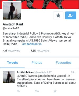 Amitabh Kant of DIPP endorses Amit Chandra's articles on MSMEs on Twitter