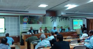 Parth chairing a panel during the Bamboo investors summit in Bhopal