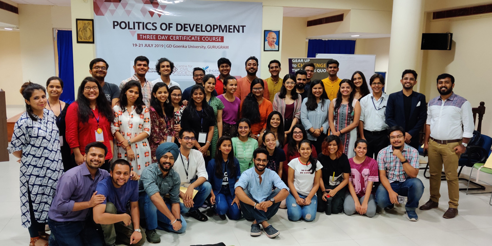 CERTIFICATE COURSE IN THE POLITICS OF DEVELOPMENT: UNDERSTANDING INTERSECTIONS OF POLITICS AND POLICY